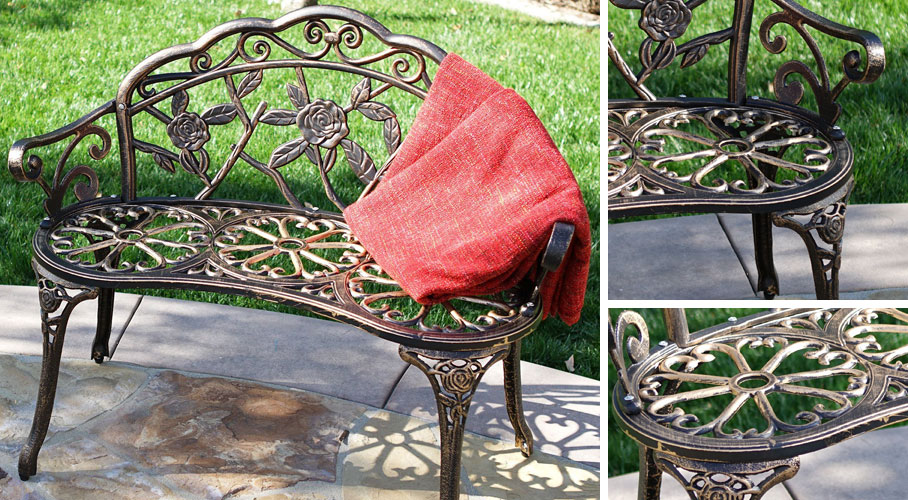 Antique Rose Garden Bench