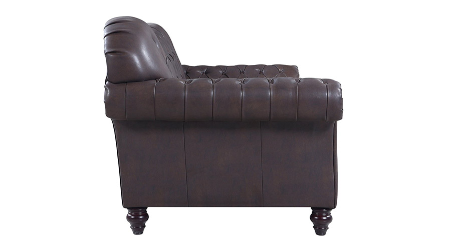 Italian Leather Tufted Victorian Sofa