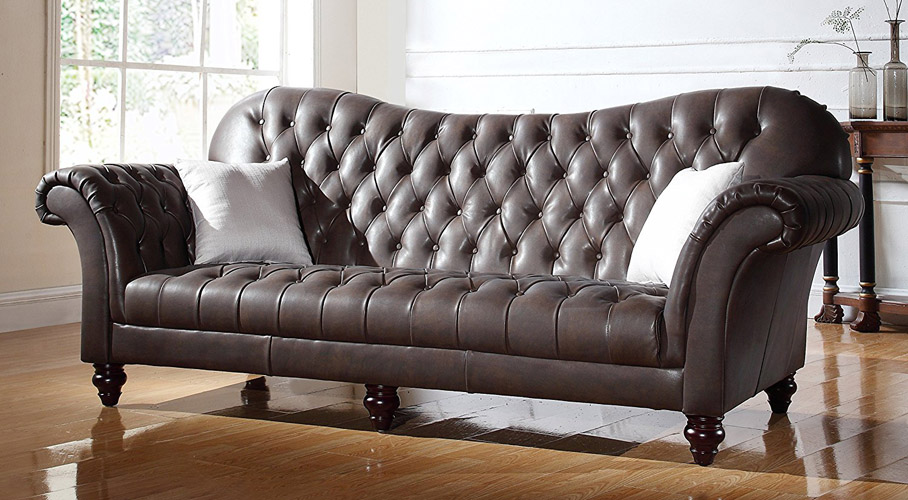 Superbe Italian Leather Tufted Victorian Sofa; Italian Leather Tufted Victorian Sofa  ...