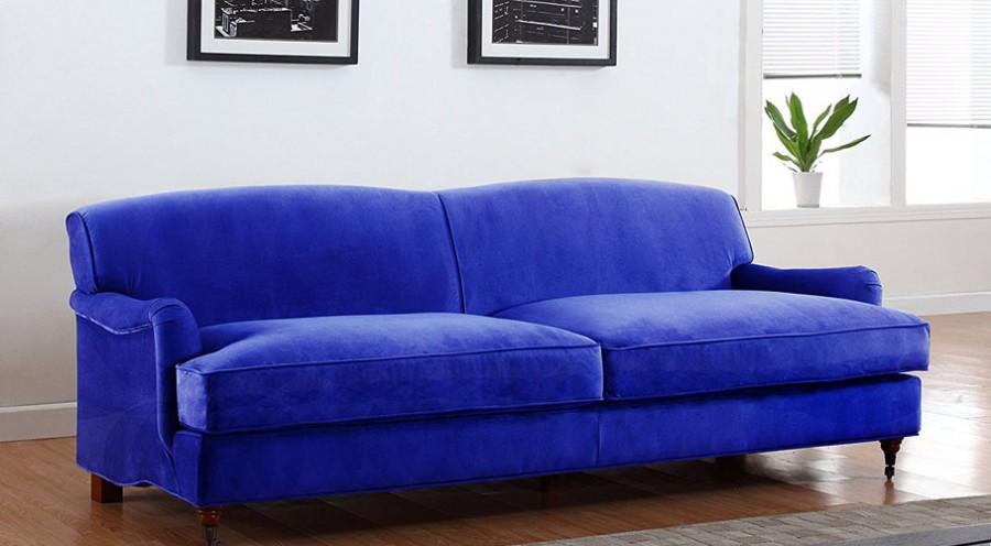 Blue Microfiber Sofa