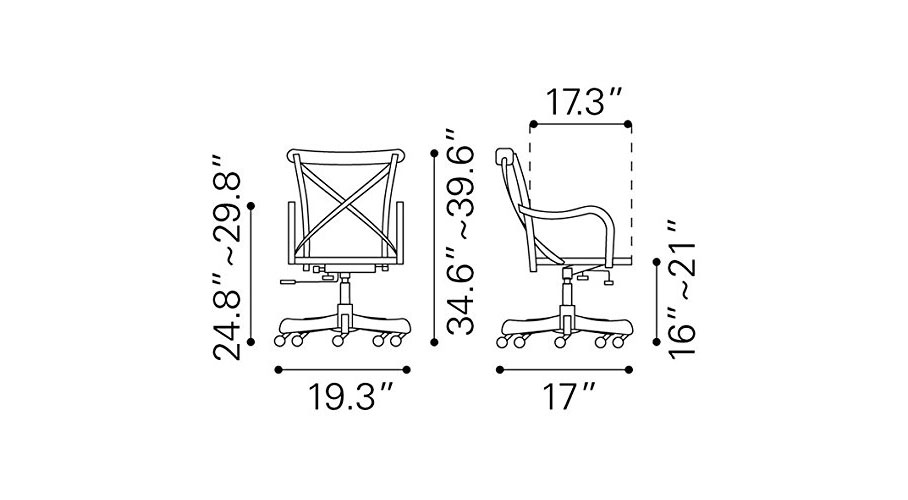 French Cafe Style Office Chair (Dimensions)