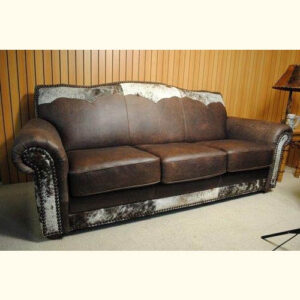 Western Leather and Cowhide Sofa